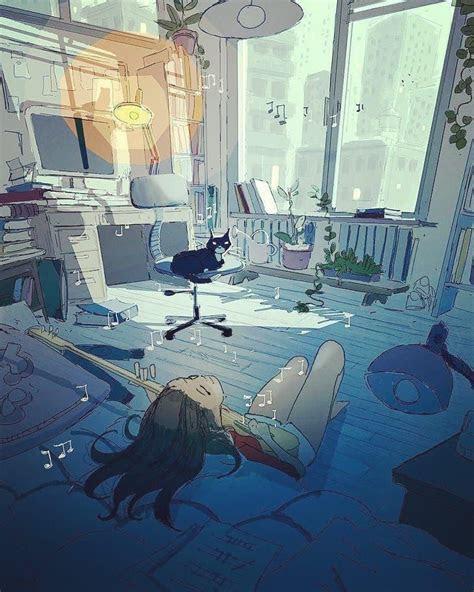 girl sitting   bedroom playing guitar illustration