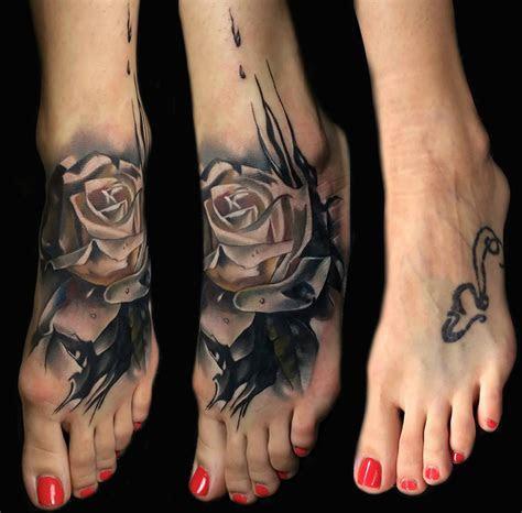 foot rose cover tattoo design tattoo ideas gallery