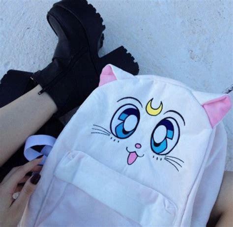 bag sailor moon cats white bag cats anime anime bag