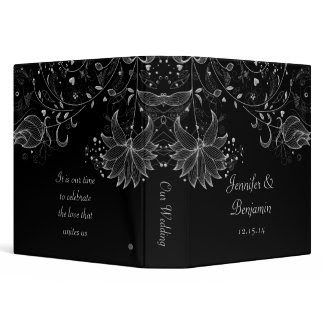Silver Sketched Flowers on Black Photo Album Binder