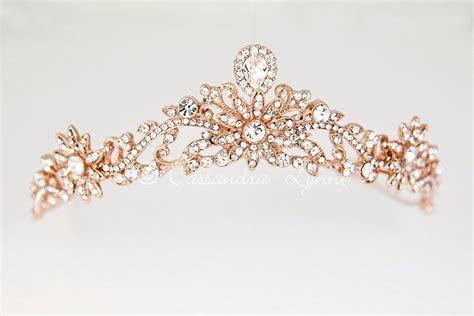 Rose Gold Princess Tiara with Floral Design   Cassandra Lynne