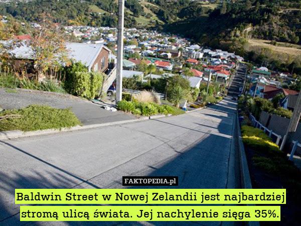 Baldwin Street w Nowej Zelandii – Baldwin Street w Nowej Zelandii jest najbardziej stromą ulicą świata. Jej nachylenie sięga 35%.