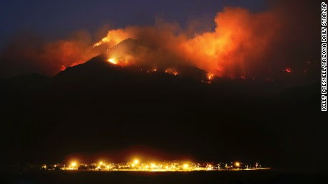 The Frye Fire burns the western edge of the Pinaleño Mountains in Coronado National Forest above Ft. Grant Prison near Willcox, Arizona on June 22, 2017. The lightning-caused fire is now at nearly 29,000 acres. More than 800 personnel are assigned to the fire.