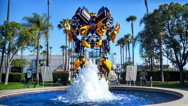 The full-scale Bumblebee prop (from the 2007 TRANSFORMERS movie) on display at Paramount Pictures in Hollywood, on June 30, 2014. Raleigh Studios is in the background.