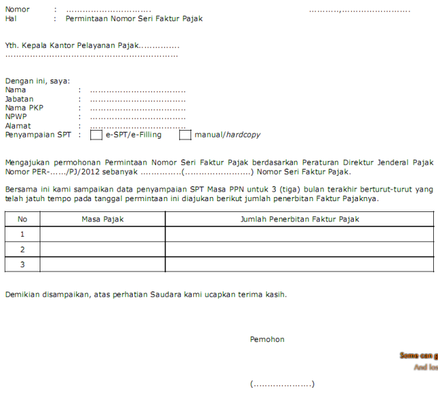 Contoh Surat Permohonan Aktivasi Faktur Pajak Minatoh