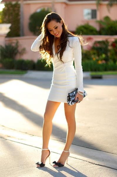 Turtleneck white bodycon dress outfit ideas evening