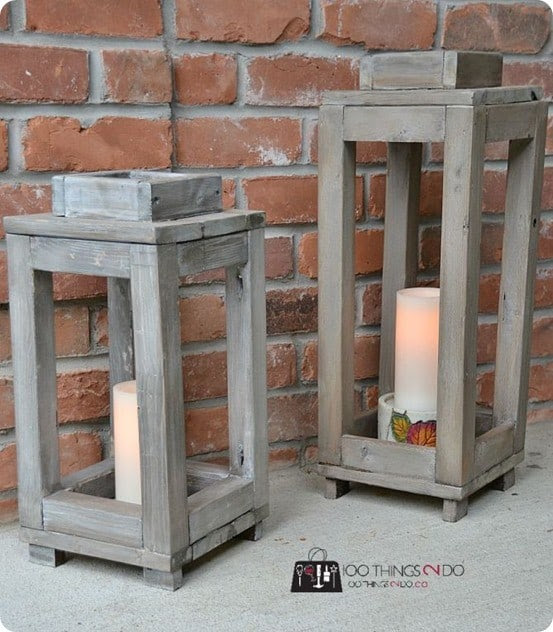 Small Wood Projects ~ Pottery Barn Knock Off Rustic Wood Lanterns