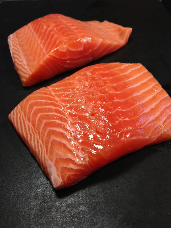 Fresh Fish To You - (2) Salmon Portions Unwrapped. Beautiful.