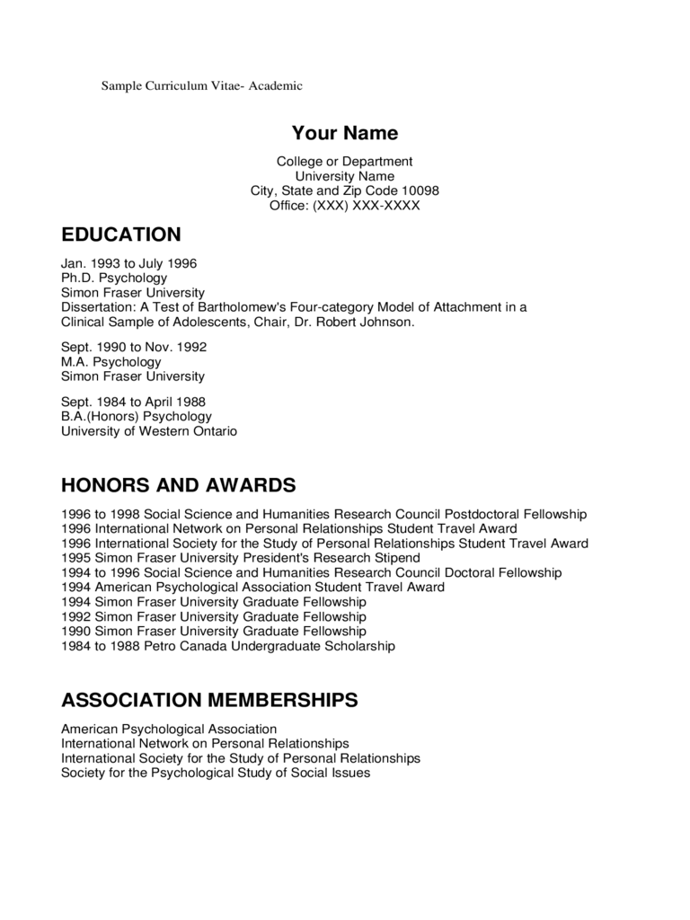 Academic CV Template - 6 Free Templates in PDF, Word, Excel Download