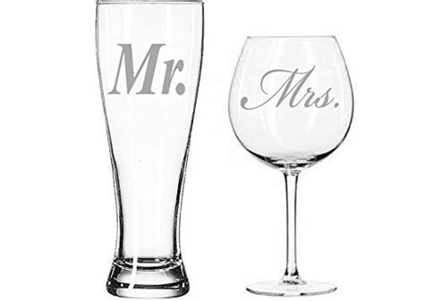 Mr. and Mrs. Beer and wine glass set   Perfect Bride and
