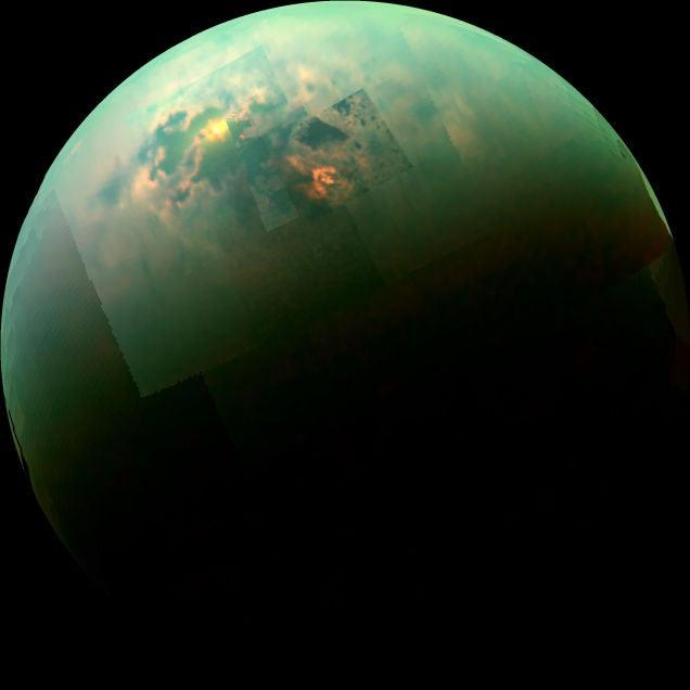 Los lagos de metano de Titán son un espectáculo de color