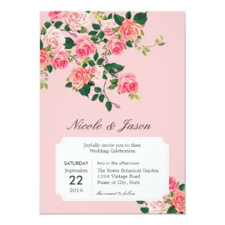 Vintage Roses Wedding Invitation