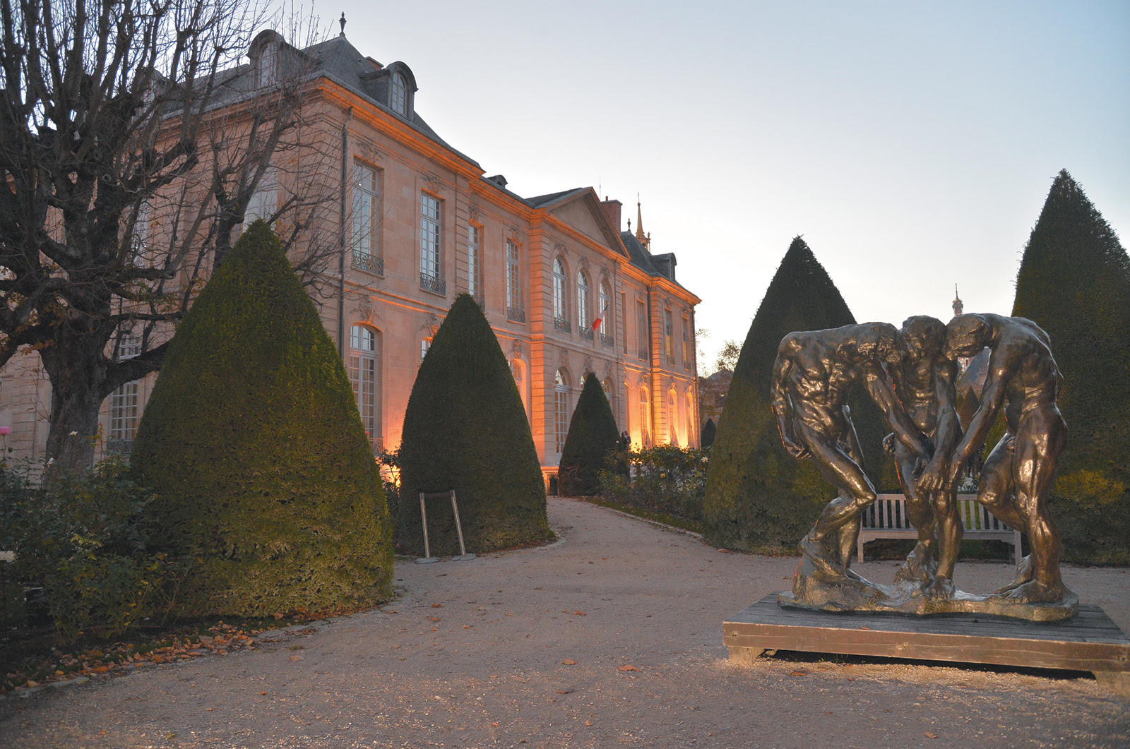 The renovated Rodin Museum in Paris, which reopened to the public on November 12, 2015, on the 175th anniversary of Rodin's birth. At right is Rodin's sculpture The Three Shades (before 1886).