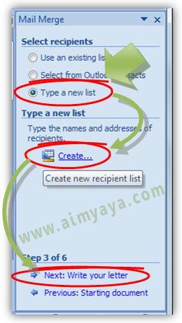 Gambar: Membuat daftar penerima undangan / tujuan di mail merge microsoft Word