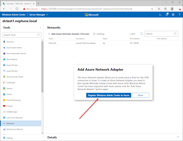 Windows Server 2022 with Azure Network Adapter