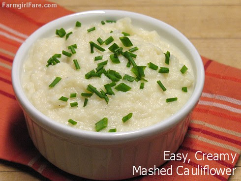 Easy Creamy Mashed Cauliflower (Cauliflower Purée) with Garlic - FarmgirlFare.com