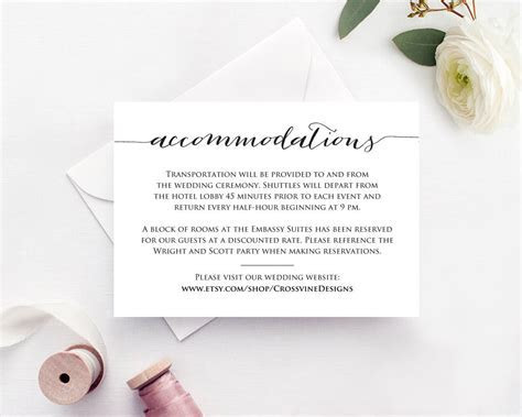 Accommodations Card · Wedding Templates and Printables