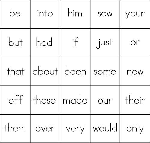 Sight Word Game: BINGO