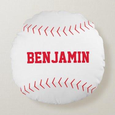 Fun Baseball Themed Round Pillow