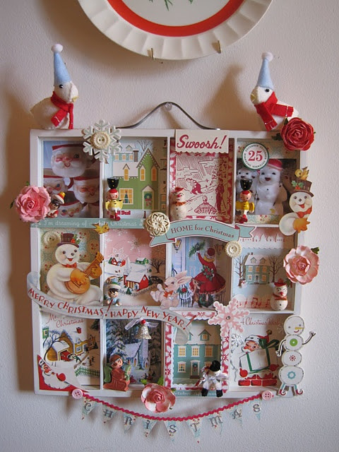 Vintage card shadow box with lots of cute little trinkets thrown in.