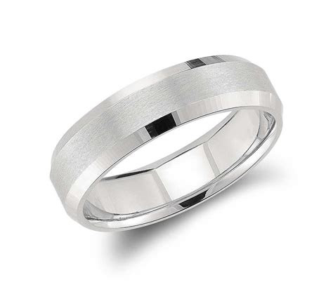 beveled edge matte wedding ring  platinum mm groom