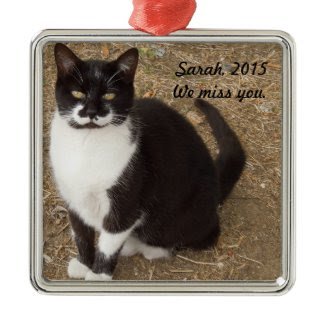 Ornament: Black Tuxedo Cat Sitting Square Metal Christmas Ornament