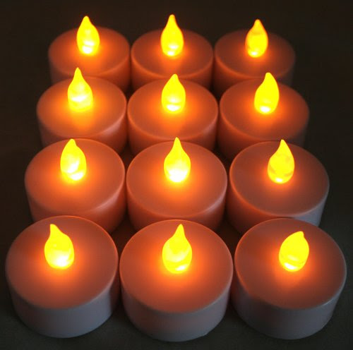 12 Flickering Flameless LED Amber Flame Tea light Candles~ Wedding Party Table Decoration, Luminary Bags~1-Dozen Pack~BlueDot Trading