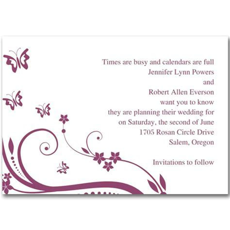 Cheap purple and butterfly save the date cards EWSTD005 as