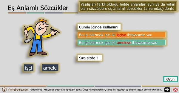 4sınıf Türkçe Oyunlu Ve şarkılı Eş Anlamlı Kelimeler Sunusu Meb Ders