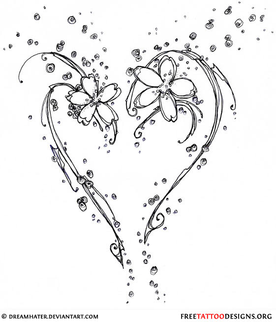 Flowers And Heart Tattoo Design