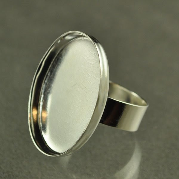 24902005-00 Findings - 28 x 21 mm Oval Bezel Ring - Silverplated (1)