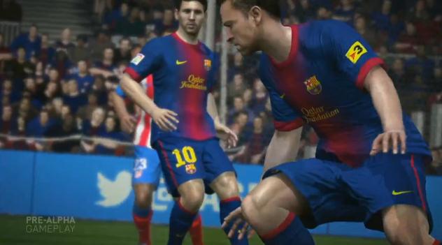 Trechos de partida virtual entre Barcelona e Atlético de Madrid foram usados no trailer (Foto: Reprodução/TechTudo)