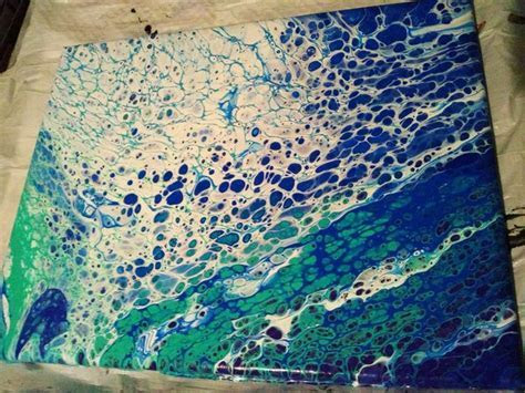 "Psychedelic Ocean Abstract Painting,""Solemn Sea"" Fluid Art"