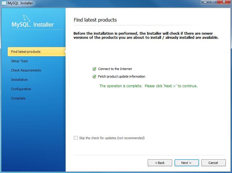 Install MySQL Step 4