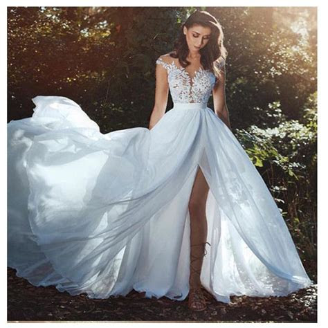 LORIE Elegant Beach Wedding Dress 2019 Cap Sleeve High