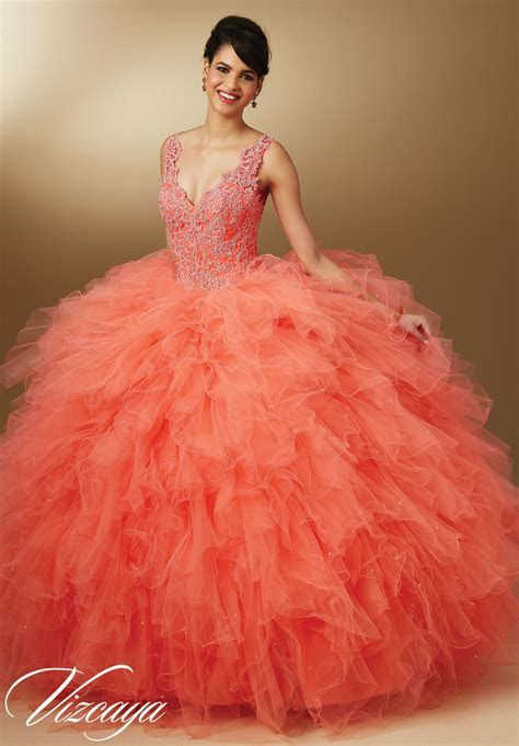 Crystal Beaded Lace on Ruffled Tulle Quinceanera Dress