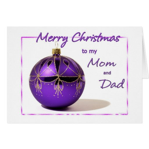 Merry Christmas Mom and Dad Purple Ball Card | Zazzle