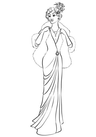 Dibujo De Mujer De 1930 En Vestido Largo Y Abrigo De Piel Para