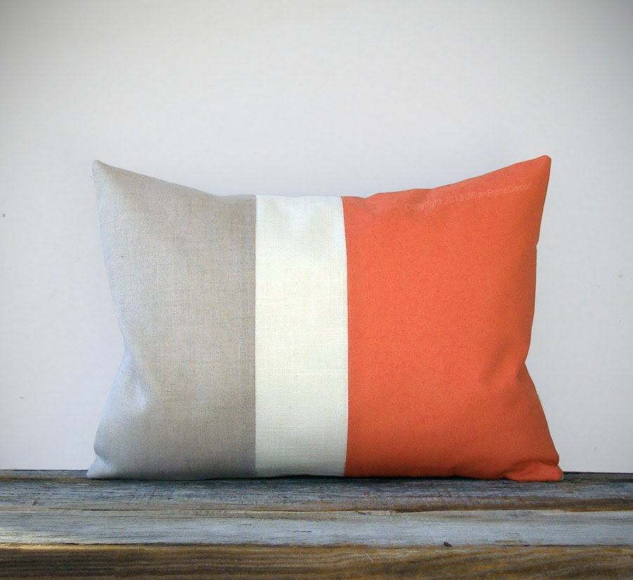 Nectarine Color Block Decorative Pillow in Natural Linen with Cream Stripe by JillianReneDecor Spring Home Decor Orange Color-block