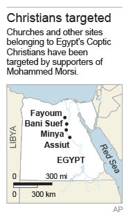 Map locates cities where Christians have been targeted; …