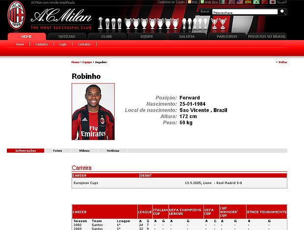 Robinho ficha no site do Milan