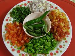 Capsicum & Tomato Dip - chopped ingredients