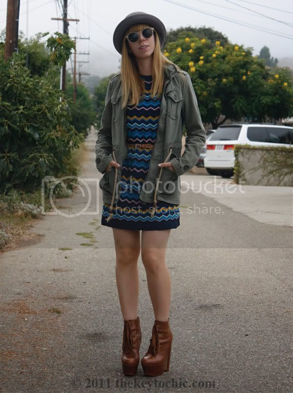 Missoni for Target blue zig zag sweater dress, Steve Madden Collosul boots, California fashion blog