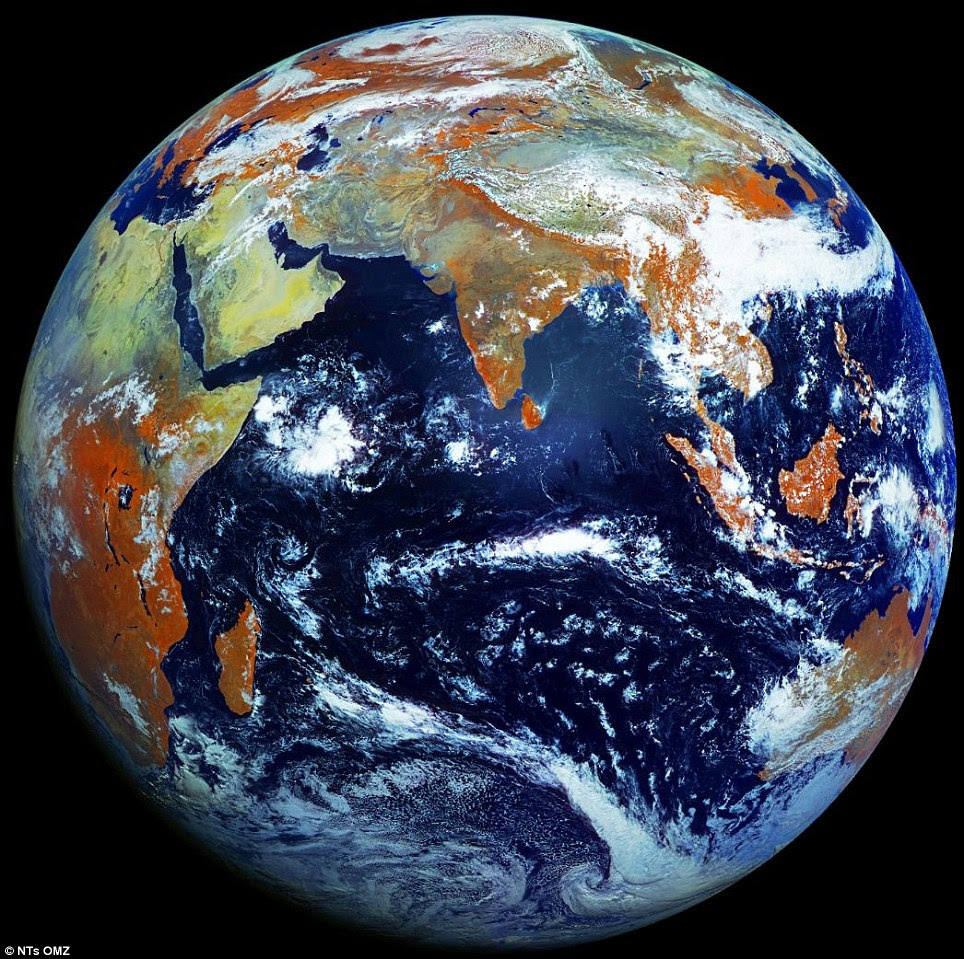 The blue oasis we call home: Earth is photographed with a high-definition 121megapixel camera - creating the sharpest image of our planet yet