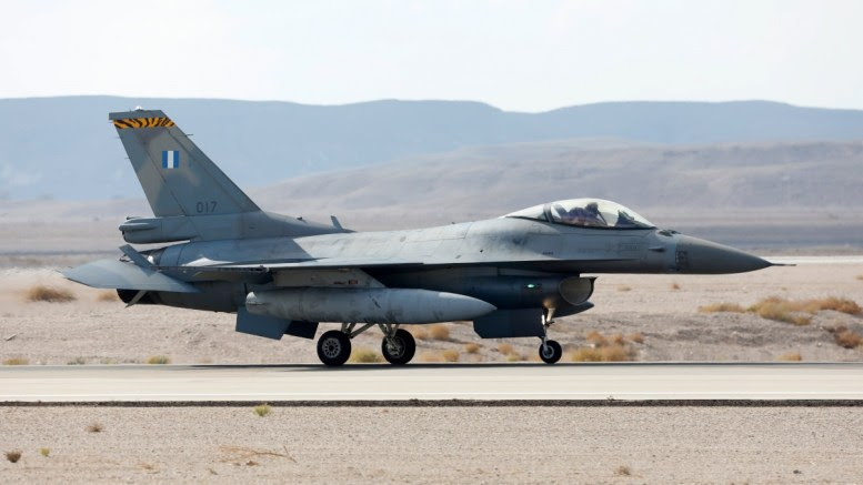 File Photo: Greek Hellenic Air Force F-16 Fighter jet lands during the joint Air Forces drill 'Blue Flag' at the Ovda Air Force Base in the Negev Desert near Eilat, southern Israel. EPA, ABIR SULTAN