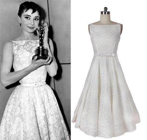Vintage Dress Audrey Hepburn Style white a line bow belt