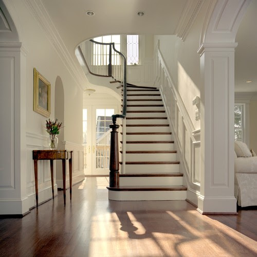 Below The Foyer Walls Are Painted Bm Linen White In An Eggshell Finish Trim Is Super Semi Gloss Dark Wood Provides A Striking