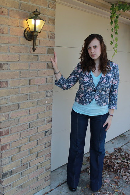 Outfit - Twenty8twelve 1970s inspired jeans, turquoise American Apparel V-neck, Anthropologie floral blazer