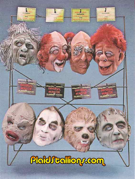 display of universal monsters rubber masks