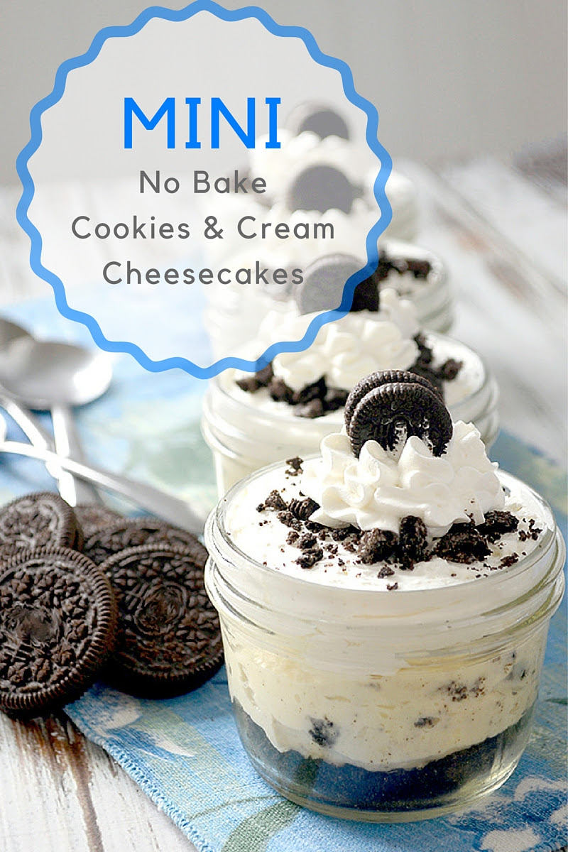 Mini No Bake Cookies and Cream Cheesecakes - Pink Cake Plate
